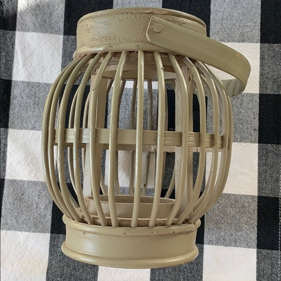 Other - Wooden decor candle holder in neutral grey color